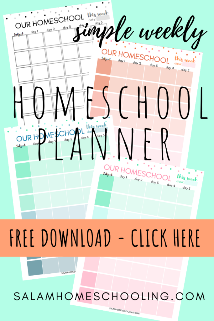 Free homeschool weekly planner